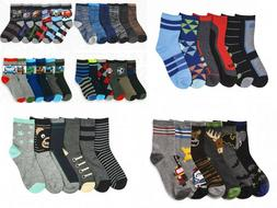 6 Pairs Boys Crew Socks Toddler, Little Kid or Big Kid Sizes