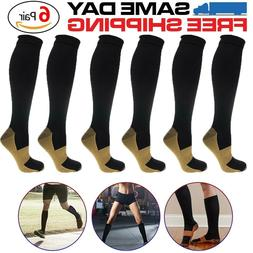 6 Pairs Compression Socks 20-30mmHg Graduated Men Women Spor