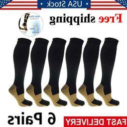 6 Pairs Copper Compression Socks 20-30mmHg Graduated Men Wom