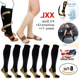 6 Pairs Copper Fit Energy Knee High Compression Socks, SM L/