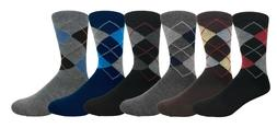 6 Pairs Men's Argyle Diamond Pattern Dress Socks Value Pack