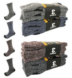 6 Pairs Men Winter Warm Thermal Crew Thick Socks Heavy Duty