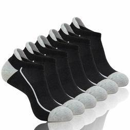 6 Pairs Mens Athletic Low Cut Ankle Tab Socks Mesh Cushioned