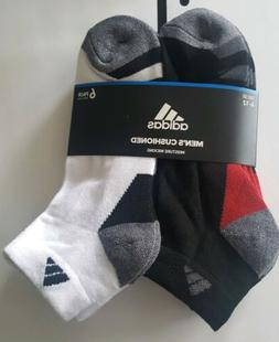 6 Pairs Mens Adidas Cushioned Wicking Low Cut Socks