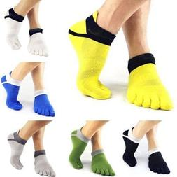 6 Pairs Mens Sports Half Toe Yoga Ankle Grip Socks 5-Toe Soc