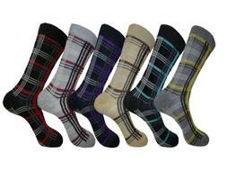 6 PAIRS STRIPED PATTERN LINES DRESS SOCKS SIZE 9-11 COTTON F