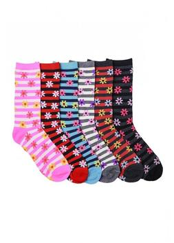 6 Pairs Women Comfort CREW SOCKS FLOWERS PATTERN Pack 9-11 L
