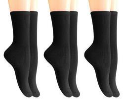 6 Pairs Women's Bamboo Dress Crew Socks Black, L Size WF03