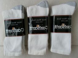 6 Pairs Carhartt Work Wear Crew Socks White W/ Gray Heel Toe
