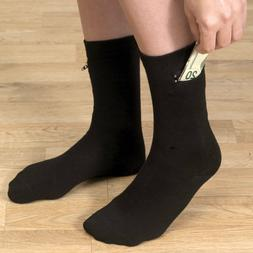 Mens Black Dress Socks With Hidden Zipper Pocket-Cotton/Span