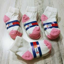 Toddler Girl Ankle Socks Size 2T 3T 4T White and Pink Lot 12