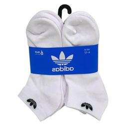ADIDAS Men's Trefoil Low Cut Socks White Cushioned Footbed 6