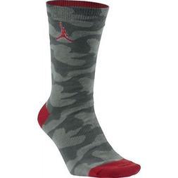 NEW Nike Air Jordan RETRO 5 Camo Red Crew Socks Men's Large