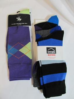 ALPINE SWISS & RALPH LAUREN MENS DRESS SOCKS~4 PAIR~SOCKS SZ