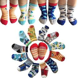 6 Pairs Anti-Slip Assorted Non Skid Kids Cozy Ankle Cotton S