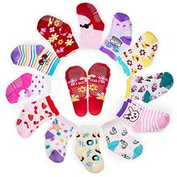 Yimaler 12-Pack Anti-Slip Soft Cotton Colorful Socks for Bab
