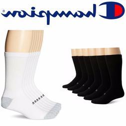 Arch Support Socks Crew Socks 6 Pack White Black Cotton Mens