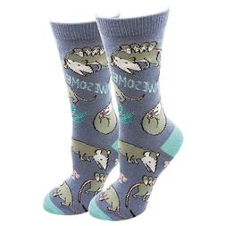 Awesome Possum Sock Harbor Women's Crew Socks Blue New Anima