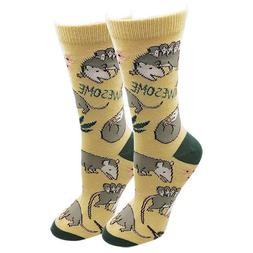 Awesome Possum Sock Harbor Women's Crew Socks Yellow New Ani