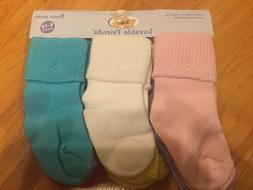 """B18 NEW Luvable Friends Baby GIRL BOY  """"Texture Cuff"""" 6-Pack"""