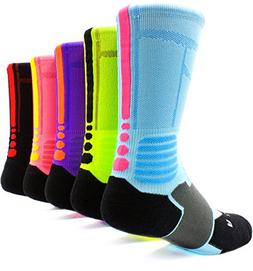 JIYE Elite Basketball Socks 5 Pack|Dri-Fit Athletic Crew All