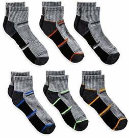 Fruit of the Loom Big Boys 6-Pair Half Cushion Ankle Socks S