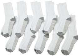 Fruit Of The Loom Big Boys' Crew Socks, White, Shoe Size 9 -