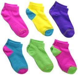 Gold Toe Big Girls'  6 Pack Flat Knit Quarter Sock, Assorted