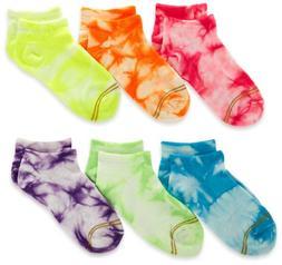 Gold Toe Big Girls'  6 Pack Liner Sock, Assorted Tie-Dye, La