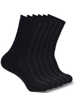 Mens Athletic Crew Socks 6-Pk Cushioned Sole Arch Support Si