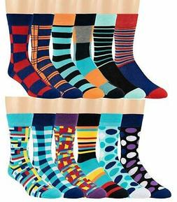 Boy's Pattern Dress Funky Fun Colorful Socks 12 Assorted Pat
