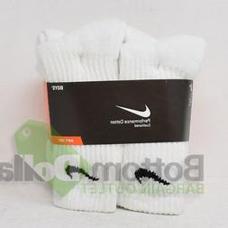 Nike Boys 6 Pack Performance Cotton Cushioned Soft Crew Sock