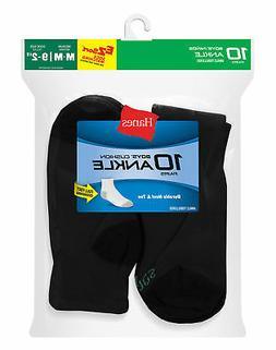 Hanes Boys' Ankle Socks 10 Pack EZ Sort reinforced heel toe