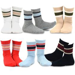 TeeHee Kids Boys Basic Stripe Cotton Crew Socks 6 Pair Pack