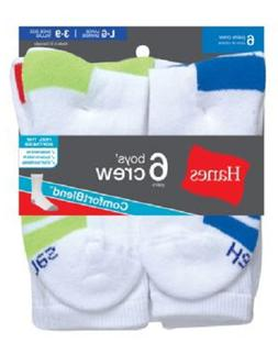 Hanes Boys Crew ComfortBlend® Assorted White Socks 6-Pack
