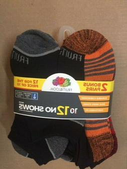 Fruit of the Loom Boys Flat Knit No Show Socks, 12 Pair, Bla