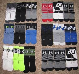 UNDER ARMOUR BOYS KIDS SHOE SIZE 1-4 PHENOM CREW SOCKS BLACK