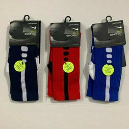 NIKE Boys NWT Elite Cushioned 3 Pack Crew Socks Red Navy Blu