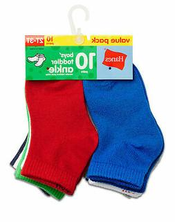 Hanes Boys' Toddler Infant Ankle 10-Pack 27/10 Assorted Colo
