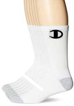 CHAMPION Brand crew socks WHITE 6-PACK