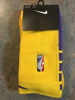 BRAND NEW Nike NBA Lakers Socks Size XXL Elite 2XL Grip Gold