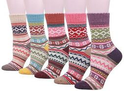 Buttons & Pleats Womens Knit Warm Wool Socks 5 Pairs, Wave P
