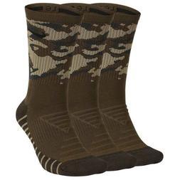 Nike Camo Socks Green Mens Crew 3 Pair Large Shoe Sz  8-12