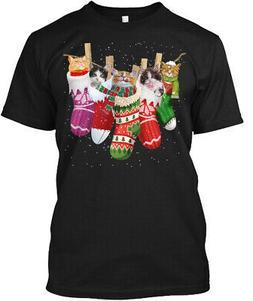 Cat-sock-merry Christmas Hanes Tagless Tee T-Shirt
