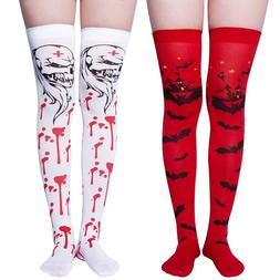 a5b090b46 Chalier Womens Long Striped Socks Over Knee Thigh High Socks