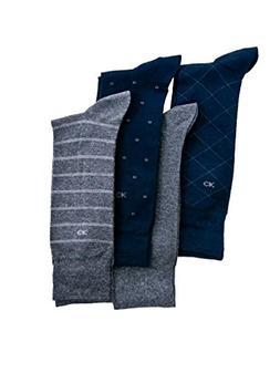 Calvin Klein Men's Classic Pattern Dress Socks 4-Pack, Navy/