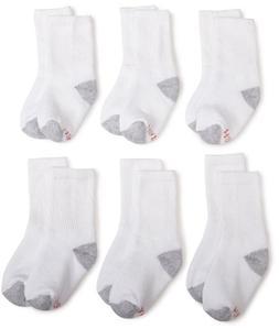 Hanes Ultimate Boys' 6-Pack Crew Socks, White