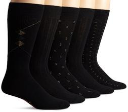 Dockers Men's 5 Pack Classics Dress Dobby Crew Socks, Black,