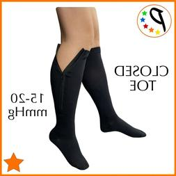 closed toe 15 20 mmhg zipper compression