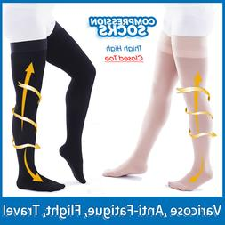 Closed-Toe Thigh High 20-30 mmHg Compression Stockings Women
